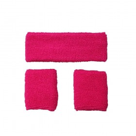 80's Sweatband & Wristbands - NEON PINK Accessories (1980)