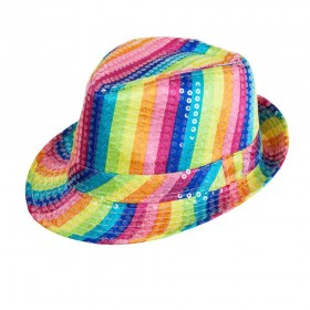 Rainbow Sequin Fedora Hats