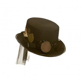 Steampunk Hat with Goggles - Black Hats