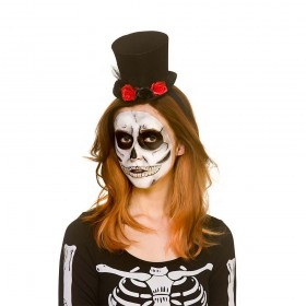 Day of the Dead Mini Top Hat with Flowers Hats