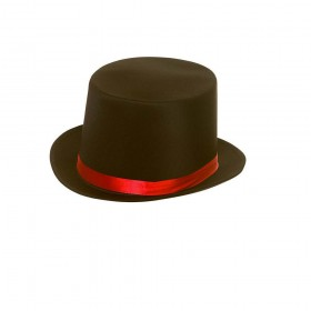 Satin Top Hat with Red Satin Band Hats