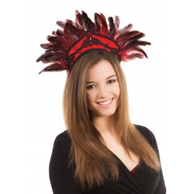 Black and Red Feather Carnival Headdress