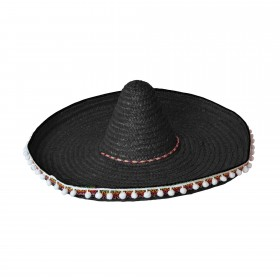 Straw Sombrero Black
