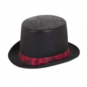 Top Hat Aged Look Black with Red Band