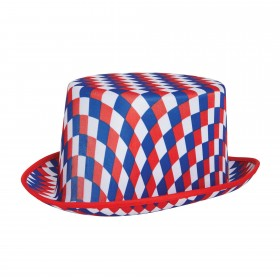 Top Hat Chequered (Red White and Blue)