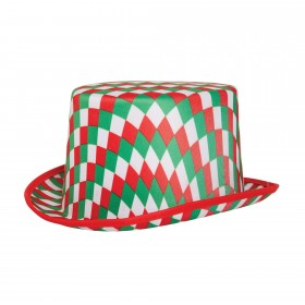 Top Hat Chequered (Red Green and White)