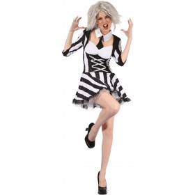 Ladies Black And White (Dead Psycho) Fancy Dress Costume