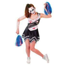 Ladies Black Zombie Cheerleader Fancy Dress Costume