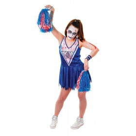 Zombie Cheerleader. Blue/White Fancy Dress Costume