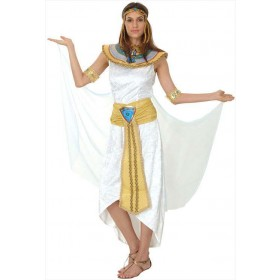 Ladies White Egyptian Cleopatra Queen Of The Nile Fancy Dress Costume