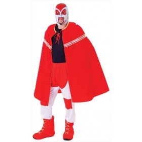 Mens Red Mexican Champion Tv Wrestler Fancy Dress Costume