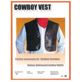 Cowboy Vest Deluxe Brown Leather (Cowboys/Indians Fancy Dress)