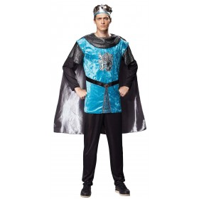 Mens Black/Blue Royal Medieval Knight Fancy Dress Costume