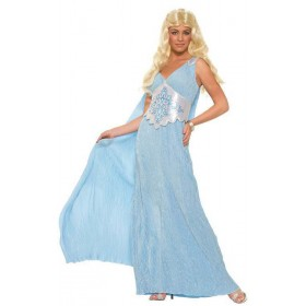 Lades Blue Elegant Medieval Queen Fancy Dress Costume