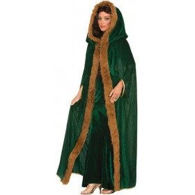 Ladies Green Faux Fur Trimmed Medieval Cape Fancy Dress Costume