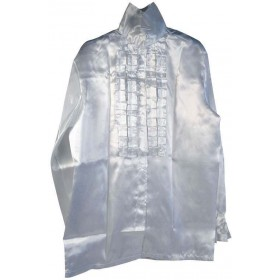 Satin Shirt & Ruffles. White (1970S Fancy Dress)