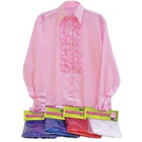 Satin Shirt & Ruffles. Pink (1970S Fancy Dress)