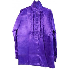 Satin Shirt & Ruffles. Purple (1970S Fancy Dress)