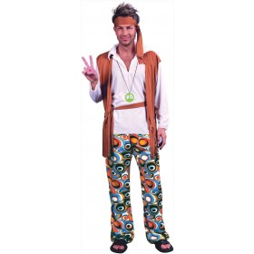 Mens 60'S Peace Hippy Man (Plus Size) Fancy Dress Costume