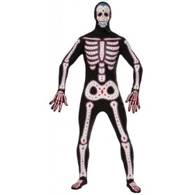 Mens Day Of The Dead Disappearing Man Halloween Body Suit Costume