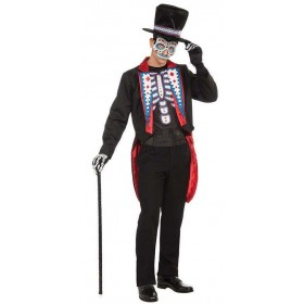 Mens Mexican Day Of The Dead Tail Suit Halloween Fancy Dress Costume