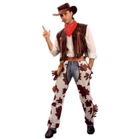 Cowboy & Cowprint Chaps Fancy Dress Costume