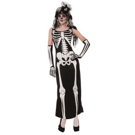 Ladies Long Skeleton Dress Halloween Fancy Dress Costume