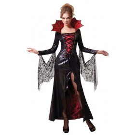 Ladies Gothic Midnight Vampiress Halloween Fancy Dress Costume
