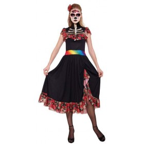 Ladies Mexican Day Of The Dead Lady Halloween Fancy Dress Costume