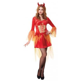Ladies Red Hot Devil Maiden Halloween Fancy Dress Costume