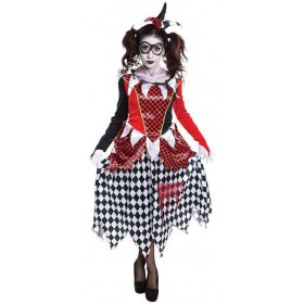 Ladies Scary Harlequin Honey Halloween Fancy Dress Costume