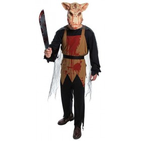Mens Horror Pig Butcher Halloween Fancy Dress Costume