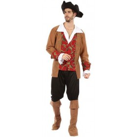 Mens Brown/Red High Seas Pirate Fancy Dress Costume