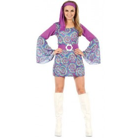 Ladies Groovy 60'S Psychedellic Hippy Fancy Dress Costume