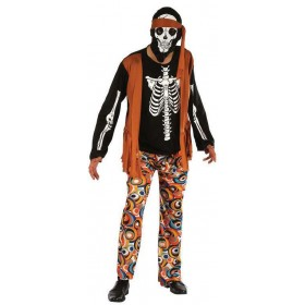 Mens 60'S Skeleton Hippy Halloween Fancy Dress Costume