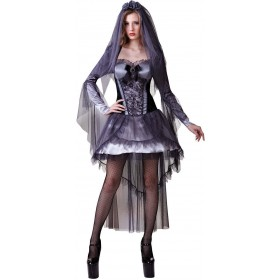 Ladies Grey (Dark Bride) Fancy Dress Costume