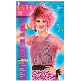 Mesh Top. Pink Neon. Female (1980S , Music Fancy Dress)