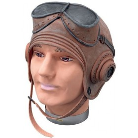 Biggles Helmet. Rubber, Budget (Army , Pilot/Air Fancy Dress Hats)