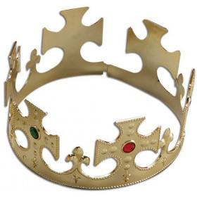 Crown.Gold Plastic Flat Packed (Medieval , Royalty Fancy Dress Hats)