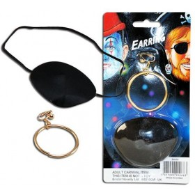 Pirate Ear Ring & Eyepatch (Pirates Fancy Dress Jewellery)