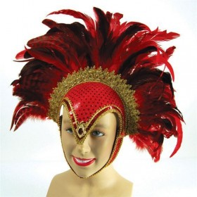 Feather Helmet Red Jewel + Plume (Cultures , Burlesque Fancy Dress Hats)