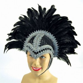 Feather Helmet Black Braiding/Plume (Cultures , Burlesque Fancy Dress Hats)