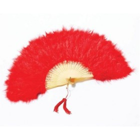 Feather Fan. Red (1920S , Burlesque Fancy Dress Feather Boas)