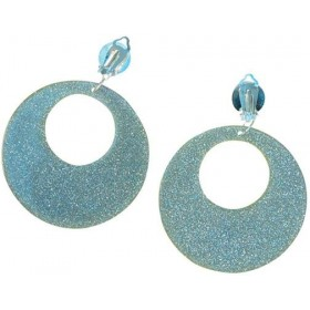 Silver Mod Glitter Ear Rings (1960S , 1970S Fancy Dress Jewellery)