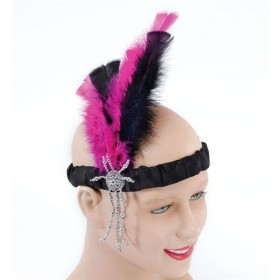 Flapper Headband. Pink (1920S , Burlesque Fancy Dress)