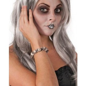 Ladies White Skull Bracelet Halloween Fancy Dress Accessory