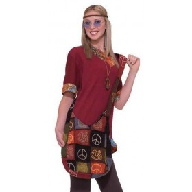 Ladies 60'S Hippie Peace Handbag Fancy Dress Accessory