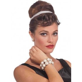 Ladies 20'S Vintage Hollywood Pearl Bracelet Fancy Dress Accessory