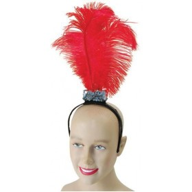 Red Flapper Headband / 3 Feathers (1920S , Burlesque Fancy Dress Hats)