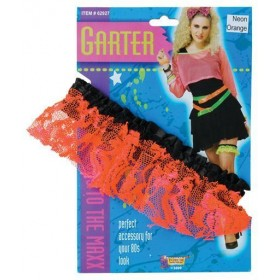80'S Neon Lace Garter. Orange (1980S , Sexy Fancy Dress)